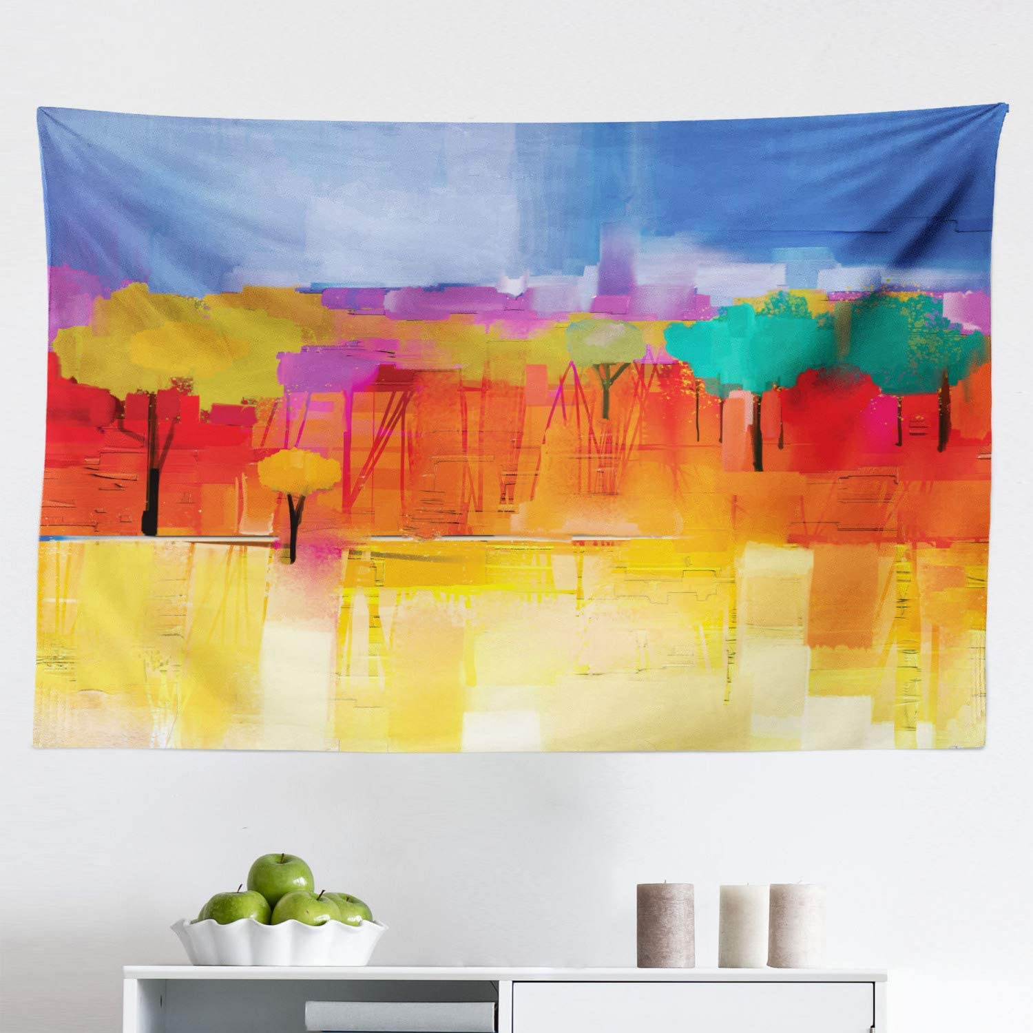 Lunarable Abstract Tapestry, Vintage Impressionist Landscape Paint in Vibrant Tones Brushstroke Pastel Print, Fabric Wall Hanging Decor for Bedroom Living Room Dorm, 45