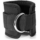 Auveach Adjustable Fit D-ring Ankle Strap Belt for Leg Butt Weights Exercises Training Equipment For Men & Women, Black