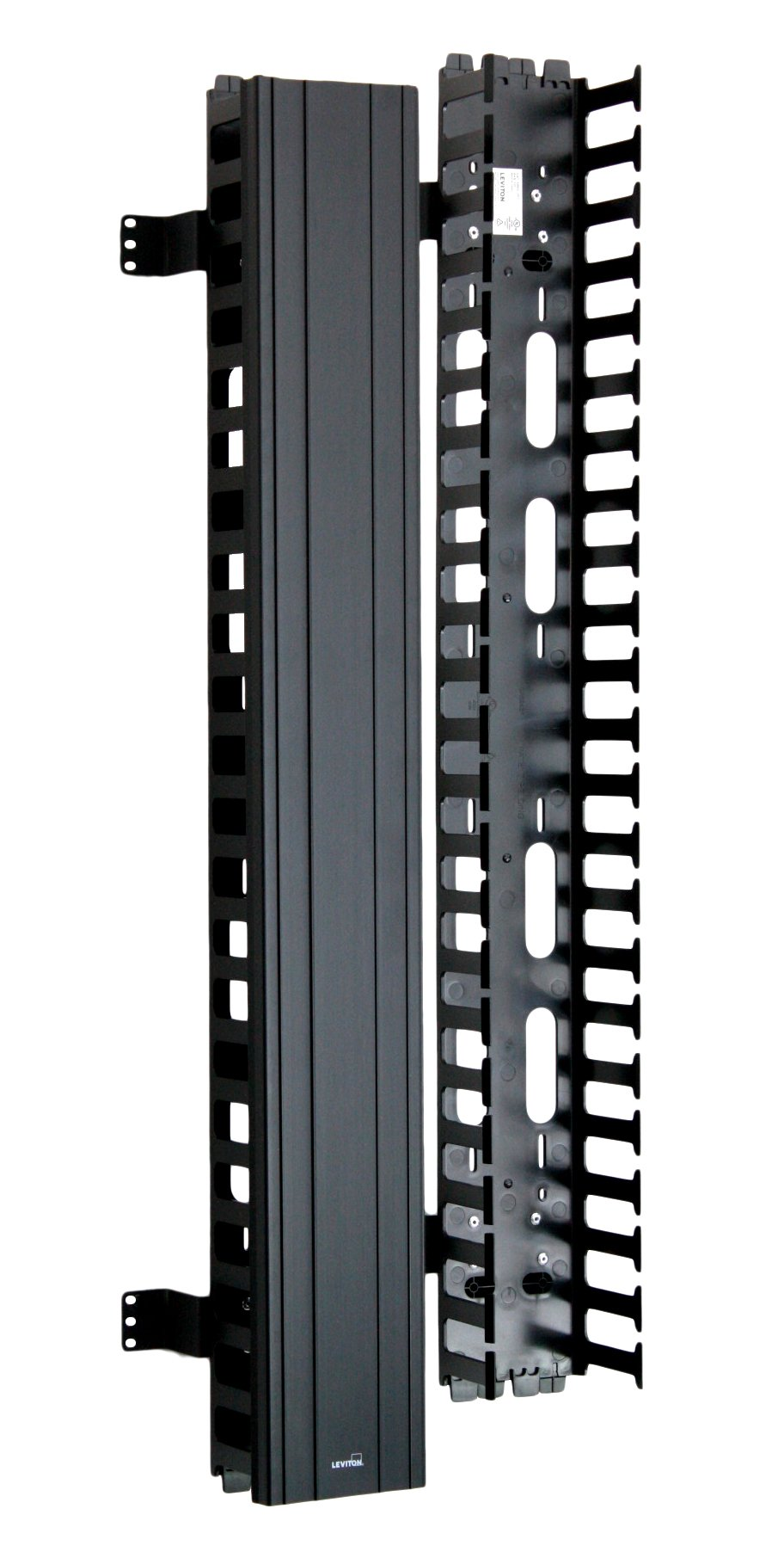Leviton 4980L-VFO Vertical Front Only Cable Management, 5-inch Channel by 80-inch Long, Black Snap-On Cover