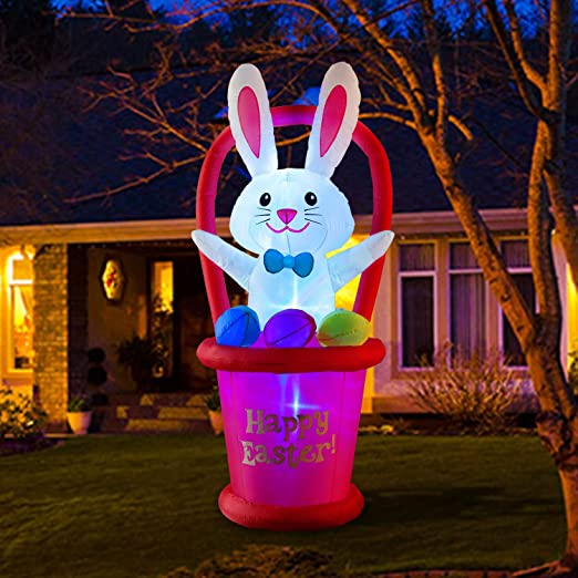 Amazon.com: HOOJO 7 Ft Easter Inflatables Bunny with Basket and ...