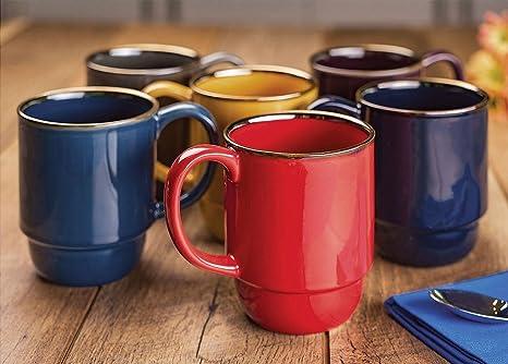 Amazon.com: Stoneware Stacking Mugs, Set of 6: Kitchen & Dining