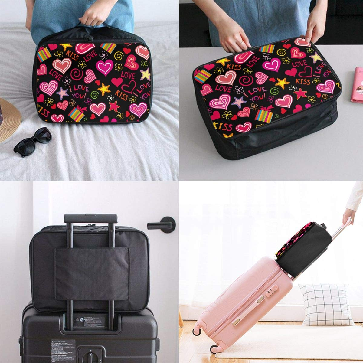 Travel Luggage Duffle Bag Lightweight Portable Handbag Love You Heart Stars Large Capacity Waterproof Foldable Storage Tote