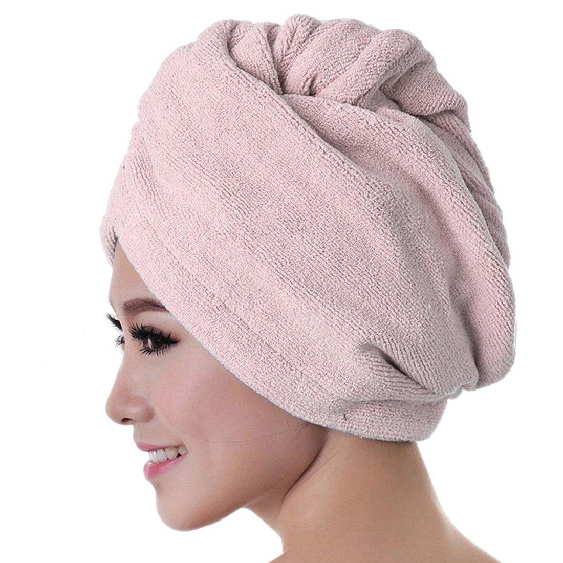 Yoyorulre Microfiber Bath Towel Hair Dry Hat Cap Quick Drying Lady Bath Tool (Purple) Yoyorule 1 Yoyorule 11