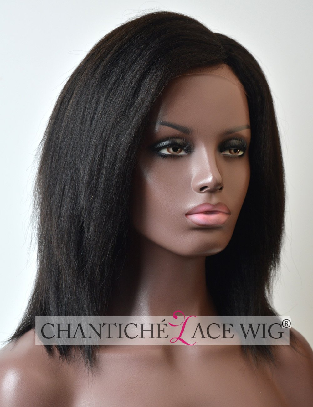 "Chantiche Italian Yaki Short Bob Wigs Human Hair 3.5"" Natural looking Invisible Left Side Deep Parting Glueless Brazilian Remy Hair Lace Front Wig for African American Women 10 Inch #1B off Black supplier"