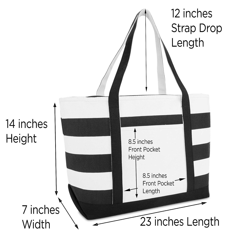 4bb60bf33935 DALIX Striped Boat Bag Premium Cotton Canvas Tote in Black