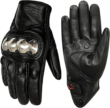 Men/'s Black Leather Motorcycle Gloves Armored Knuckle Protector Motorcycle Riding Gloves Non-Perforated,XXL