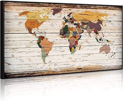 Extreme Large 32″x55″ Vintage World Map Canvas Prints Push Pin Atlas Framed Map Wall Art Decor Trace Travel Marks Map Wall Decor Black Floater Frame