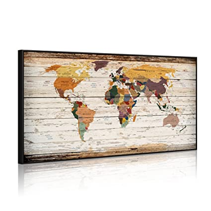 Amazon Com Extreme Large 32 X55 Vintage World Map Canvas Prints