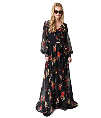 15fcb824b Unique Vintage 1970s Style Black Floral Long Sleeve Maxi Dress at Amazon  Women s Clothing store