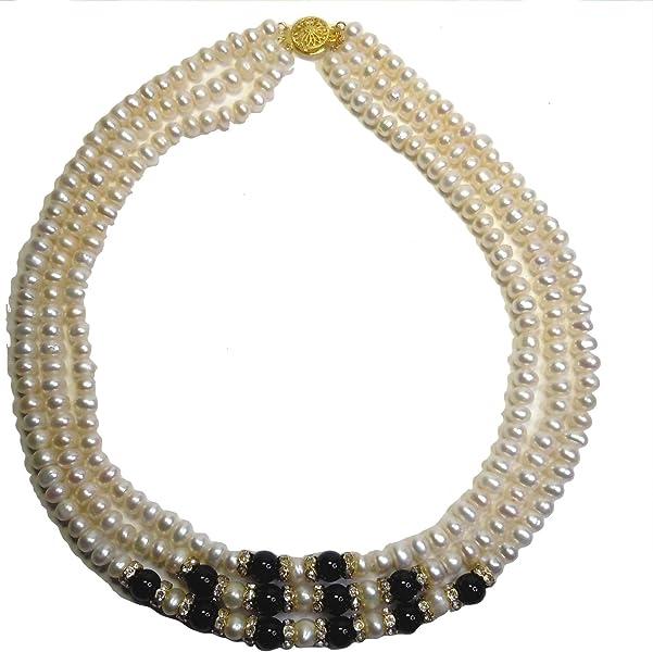 Perlas de agua dulce 3-reihiges de collar con colgante de ...