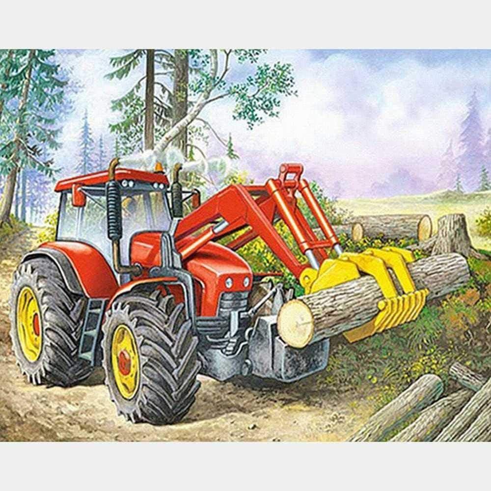 Kits de pintura por números Pintura de lienzo de bricolaje para adultos Niños principiantes-tractores que transportan madera-40x50cm(sin marco)