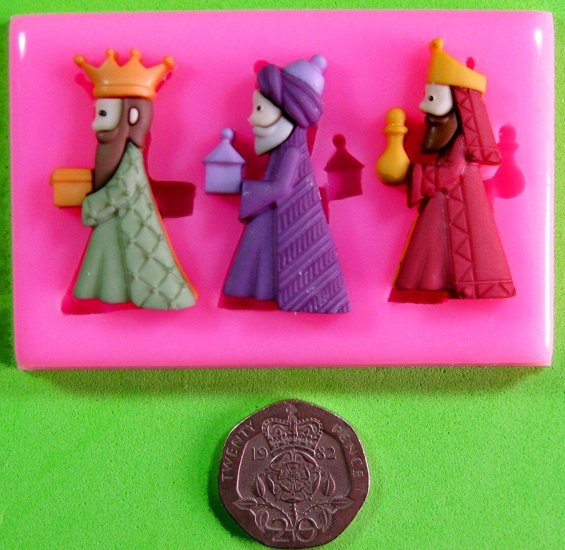 Tres Reyes Magos Natividad Navidad Molde de silicona para la torta de Decoración Pastel de Cupcake Toppers Glaseado Sugarcraft Tool por Fairie Blessings: ...