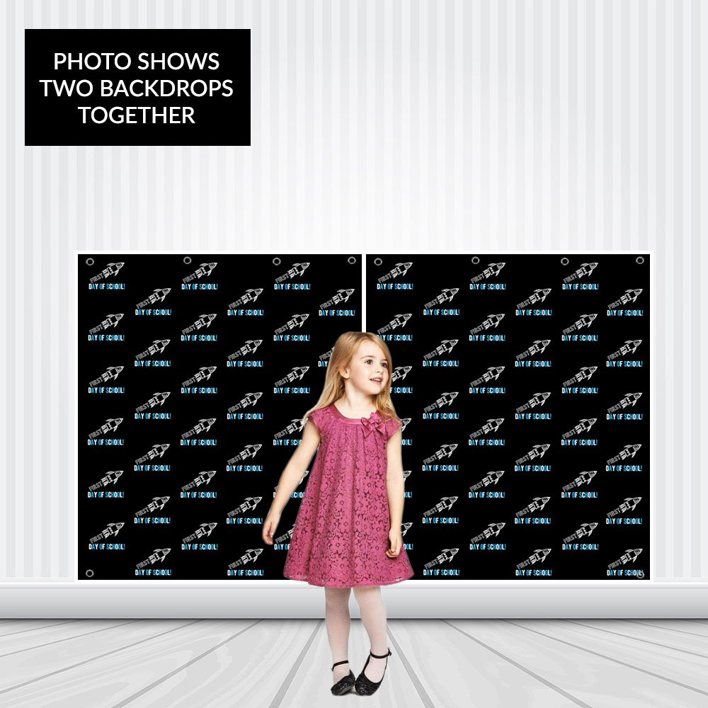 First Day of School Rocket Step Repeat Photo Backdrop