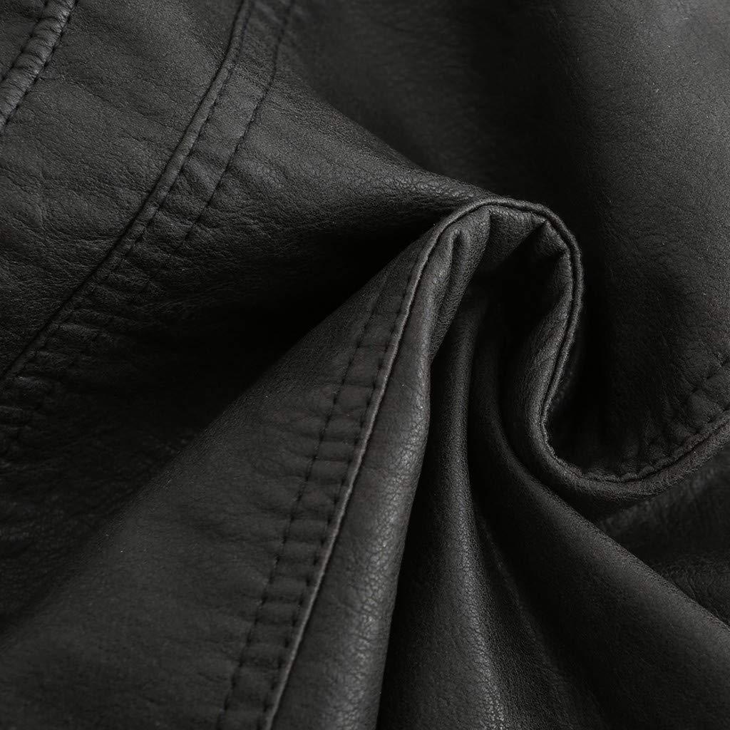 Tefamore Chaquetas De Cuero Mujeres Abrigo Corto De Invierno C/áLido para Mujer Chaqueta De Cuero Parka Cremallera Tops Abrigo Outwear