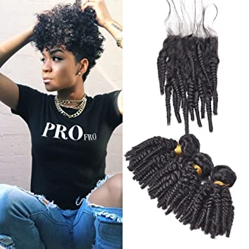Brazilian Afro Kinky Curly Weave Human Hair 3 Bundles 14 14 16 With 14 Lace Closure For Black