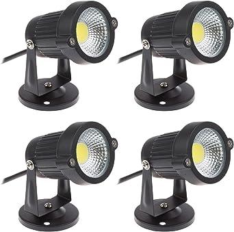 Pack de 4 Foco LEDs para Jardín Blanco frío 5W 220V Luz LED COB para Exteriores: Amazon.es: Iluminación
