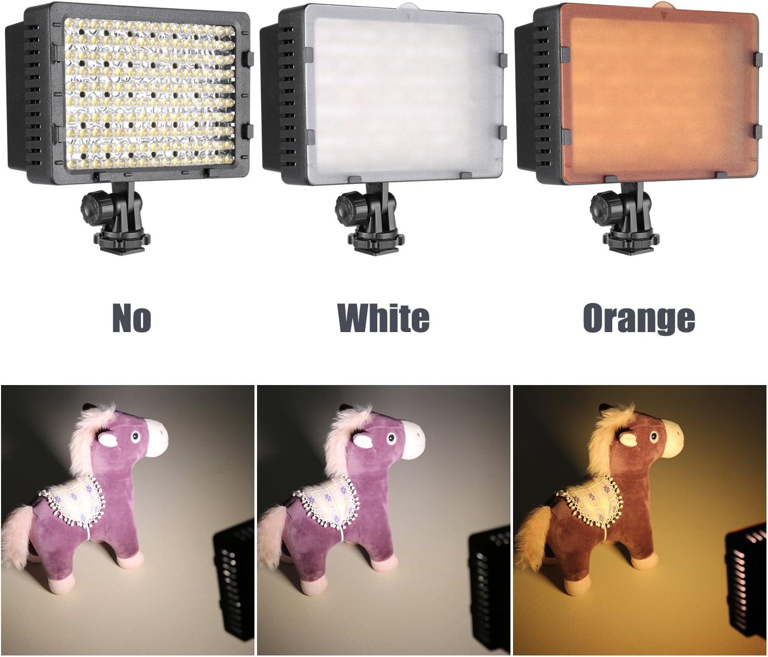 Lumi/ère 160 R/églable /& Filtres de 6Paquets Batterie Chargeur USB /& Etui de Transport pour Cam/éra DSLR Num/érique Cam/éscopes Neewer CN160 Kit dEclairage Vid/éo LED Rouge//Bleu//Rose//Violet//Orange//Blanc