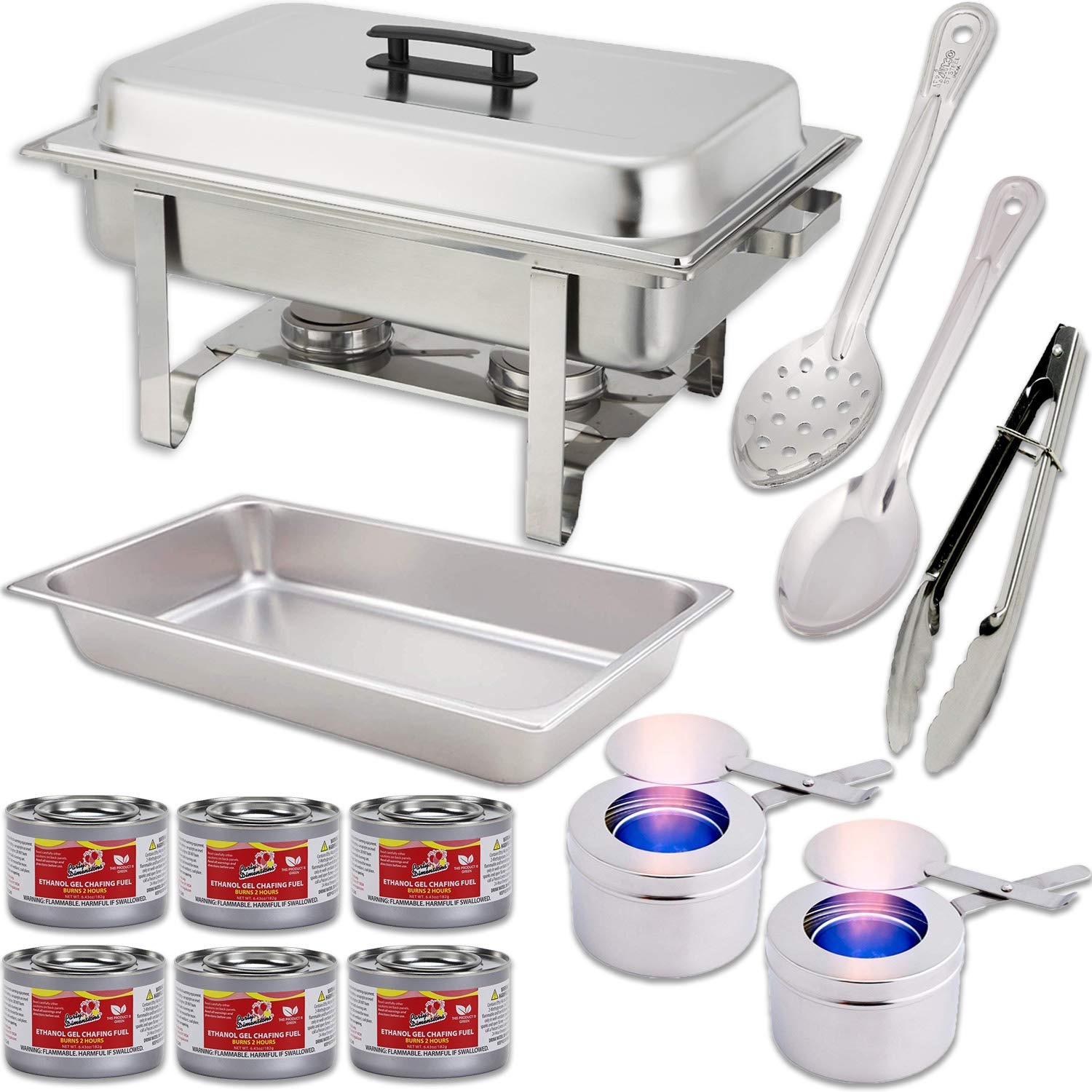 "Chafing Dish Set w/Fuel — Water Pan + Food Pan (8 qt) + Frame + 2 Fuel Holders + 6 Fuel Cans + 3 Serving Utensils (15"" Solid Spoon + 15"" Perforated Spoon + 9"" Tongs) – Stainless-Steel Warmer Kit HeroFiber"