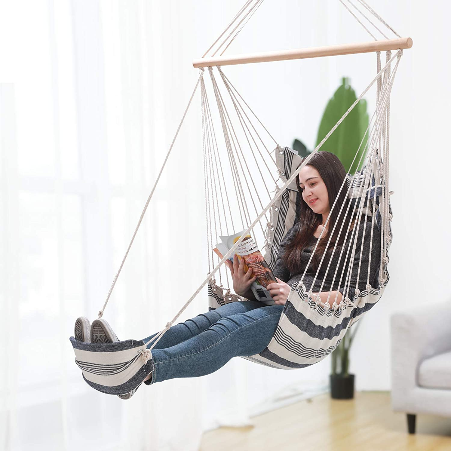 Songmics Hammock Chair Hanging Chair With Pillow And Footrest Xl Padded Swing Chair 70 X 120 Cm Load Capacity 200 Kg Indoor And Outdoor Blue And White Stripes Gdc46wq Amazon Co Uk Garden