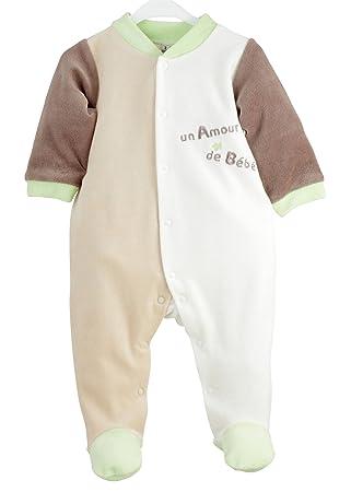 3f797d62ad47f Kinousses Dors Bien Grenouillère Pyjama pour Bébé en Velours Motif Un Amour  de Bébé Chocolat 3
