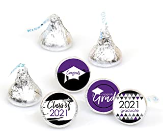 product image for Big Dot of Happiness Purple Grad - Best is Yet to Come - Purple 2021 Graduation Party Round Candy Sticker Favors - Labels Fit Hershey's Kisses (1 Sheet of 108)