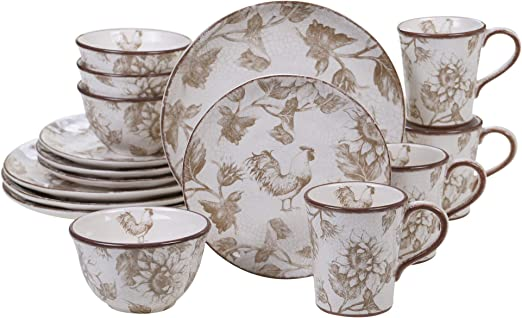 Certified International Toile Rooster  16 pc Dinnerware Set Service for 4,One Size Multicolored