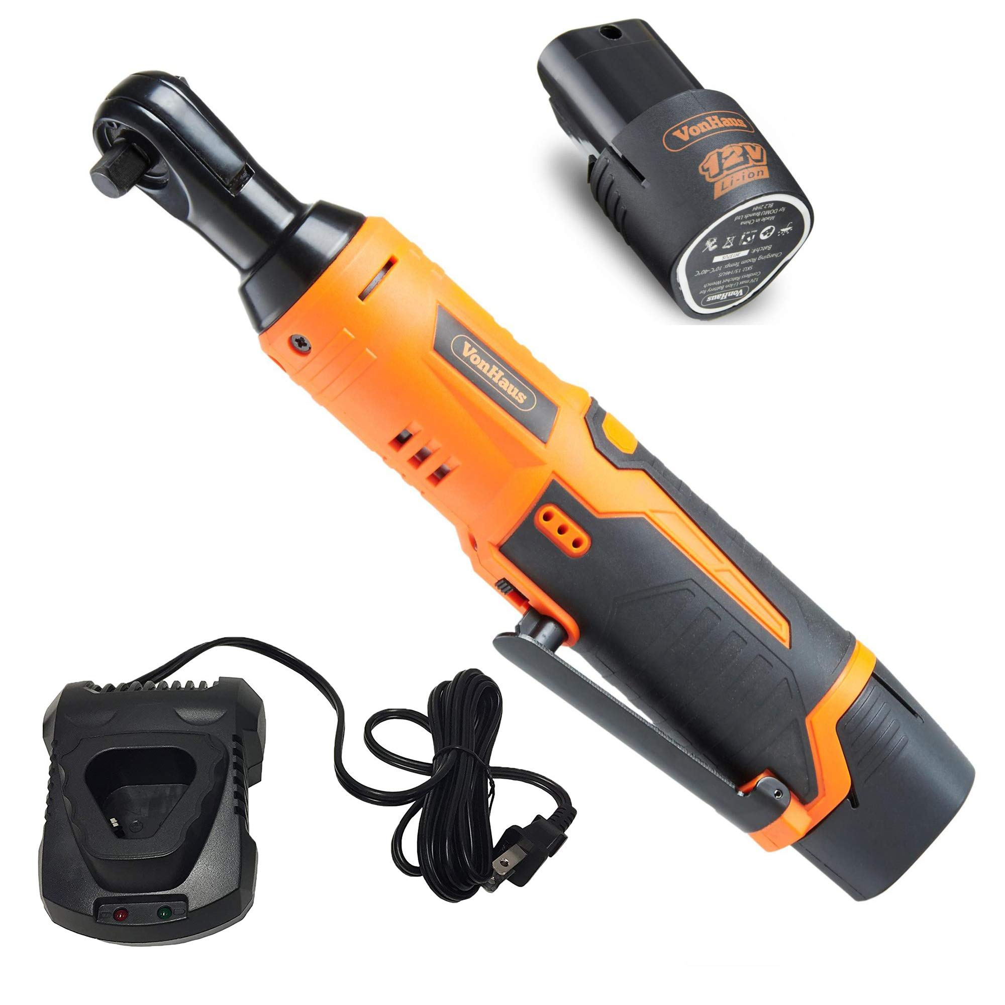 VonHaus Cordless Electric Ratchet Wrench Set with 12V Lithium-Ion Battery and Charger Kit 3/8'' Drive 15/145US