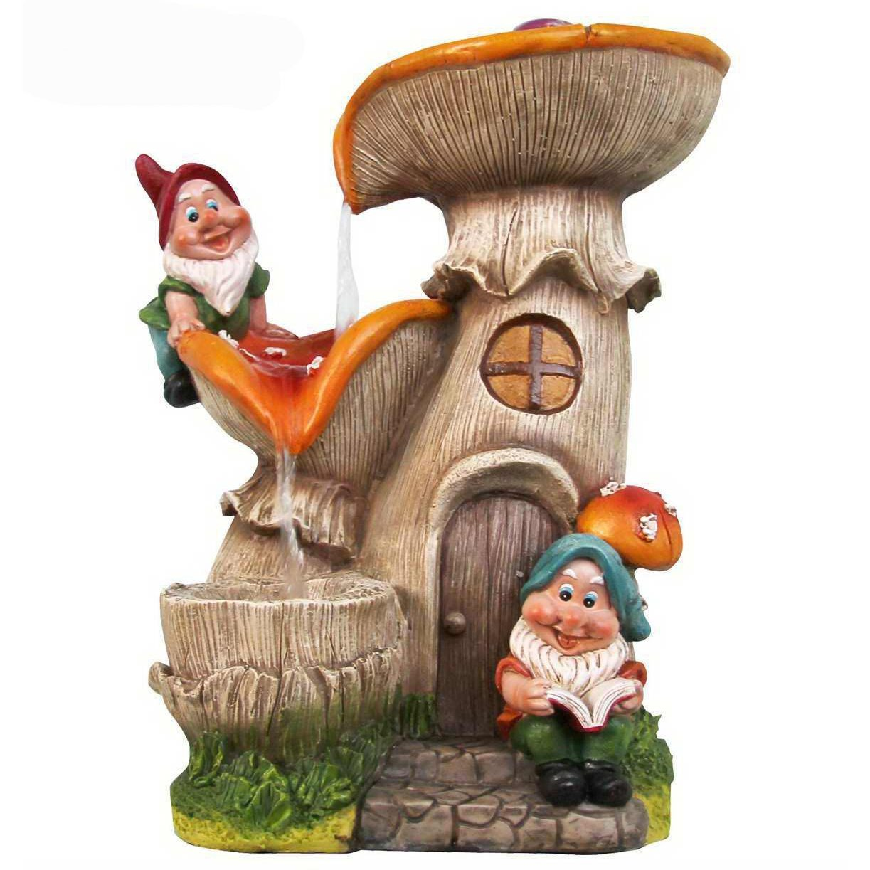 Two Gnomes Mushroom House Sculptural Fountain Made w/ Resin In Multi Color 12.91'' H x 10.16'' W x 9.72'' D