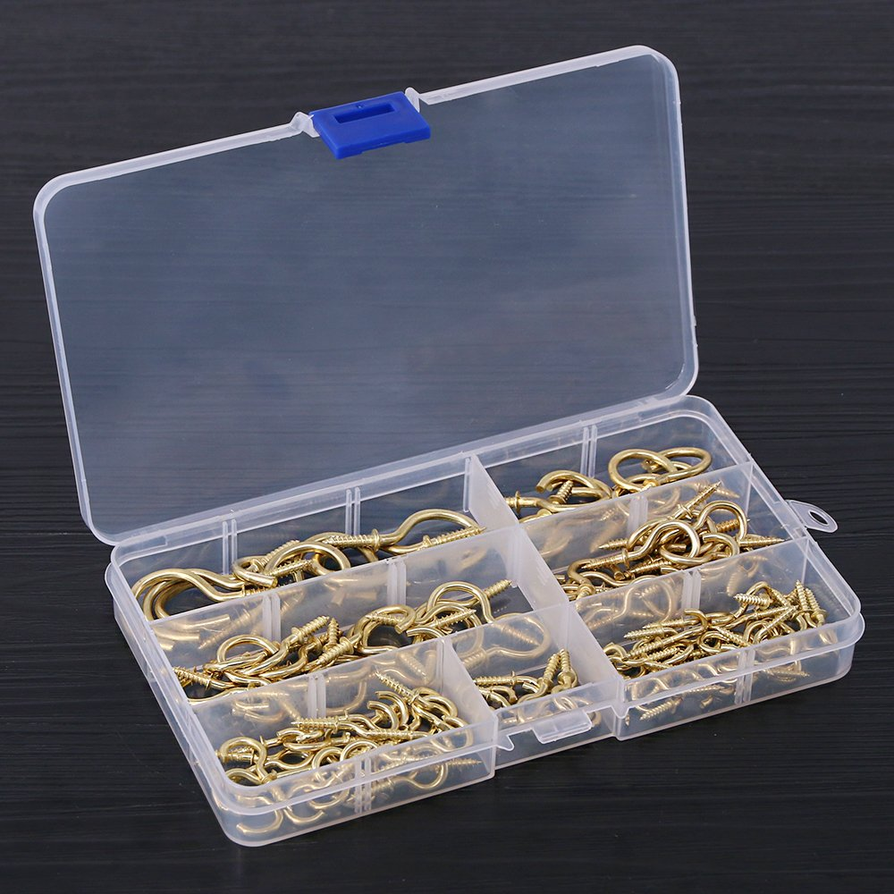 Glarks 120-Pieces 6 Size Brass Plated Screw-in Cup Hooks Lag Thread Handy Hanging Hooks Assortment Set