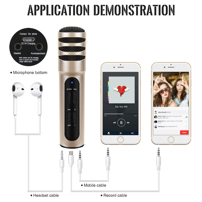Tonor iPhone Karaoke Mikrofon Plug & Play Home Studio Mic für Smule Kondensatoraufnahmen für Yokee StarMaker Karaoke Apps Kompatibel mit Android und