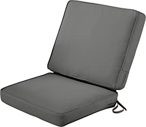 Classic Accessories Montlake Water-Resistant 44 x 20 x 3 Inch Patio Chair Cushion, Light Charcoal