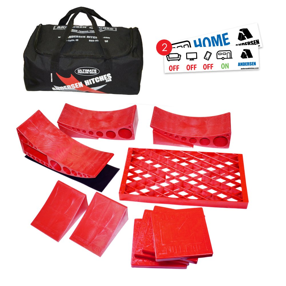 Andersen Camper Levelers | Trailer Gear Duffel Bag 3600 | 2 Camper Levelers, 4 TUFF Chocks, 1 Rapid Jack & Rubber Pad, 1 Clean Step, 4 TUFF Pads | Best RV Leveling | Includes 2 Bumper Stickers by Andersen Hitches