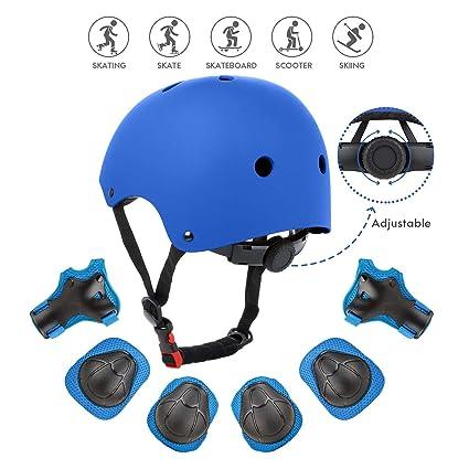 Fstoption Casco Infantil, Protecciones Patines Niña Rodilleras y Cascos Ajustable Coderas para Patinar Bicicleta Monopatín