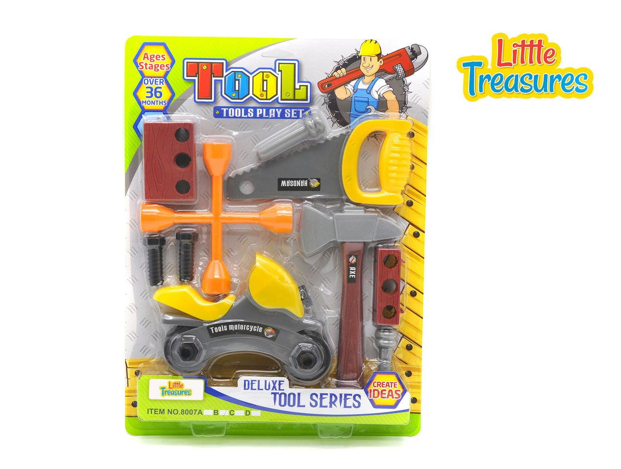 Quality Deluxe Tool series from Little Treasures – Complete with motorcycle, handsaw, axe, Wrench, and lug wrench, screws, and Wooden piece –play set for children over 36 months.