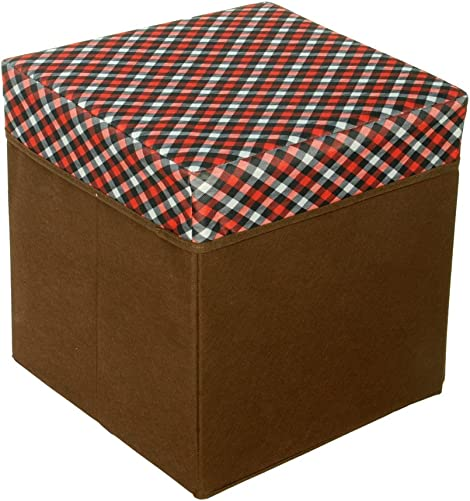 Red/White/Black Check Square Foldable Storage Ottoman / Storage Boxes / Storage Seat