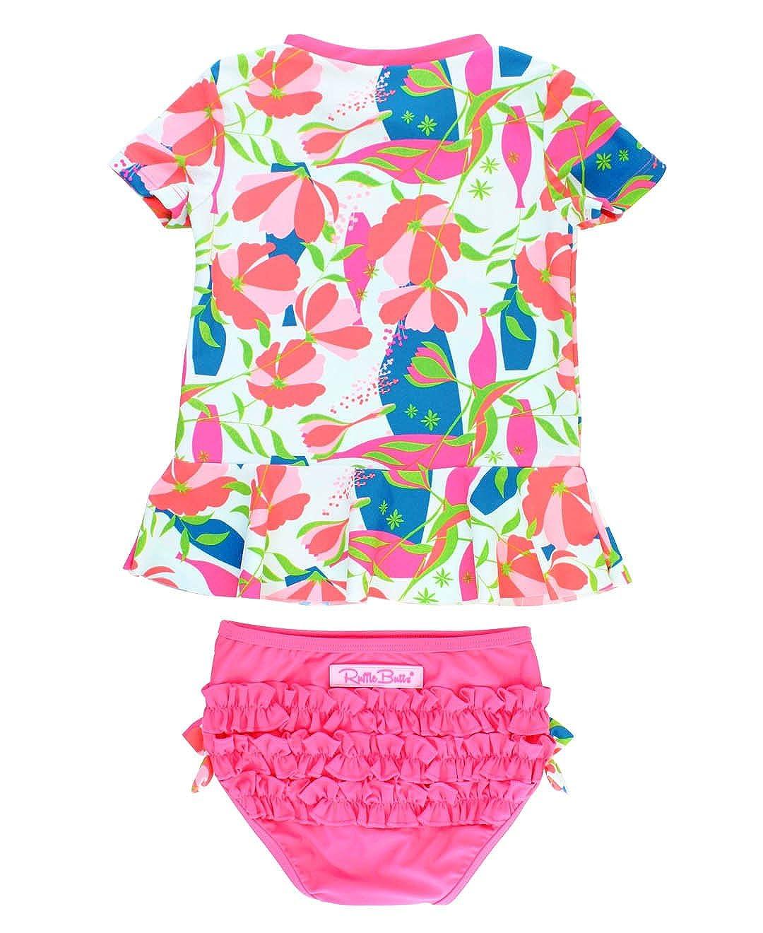 RuffleButts Little Girls Rash Guard 2-Piece Swimsuit Set - Floral Peplum Bikini with UPF 50+ Sun Protection RGSCAXX-JSFL-TDLR