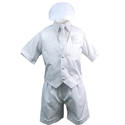 Baby Boy Toddler Baptism Christening 5PC White Vest Shorts Necktie Hat Suit S-4T