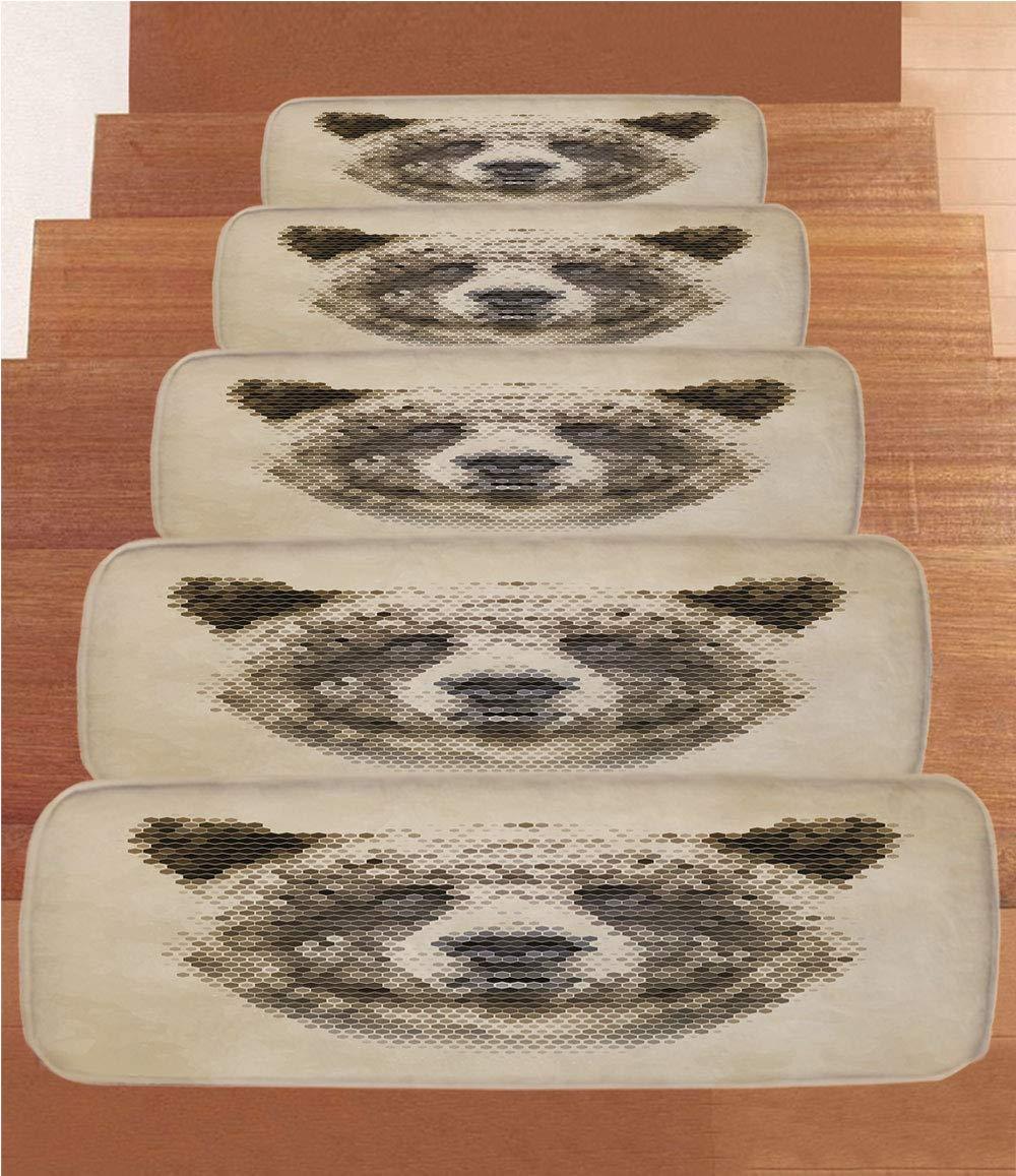 iPrint Non-Slip Carpets Stair Treads,Bear,Wild Animal Head with Hexagonal Dots Blurry Looking Portrait Vintage Geometric Modern Decorative,Tan Brown,(Set of 5) 8.6''x27.5''