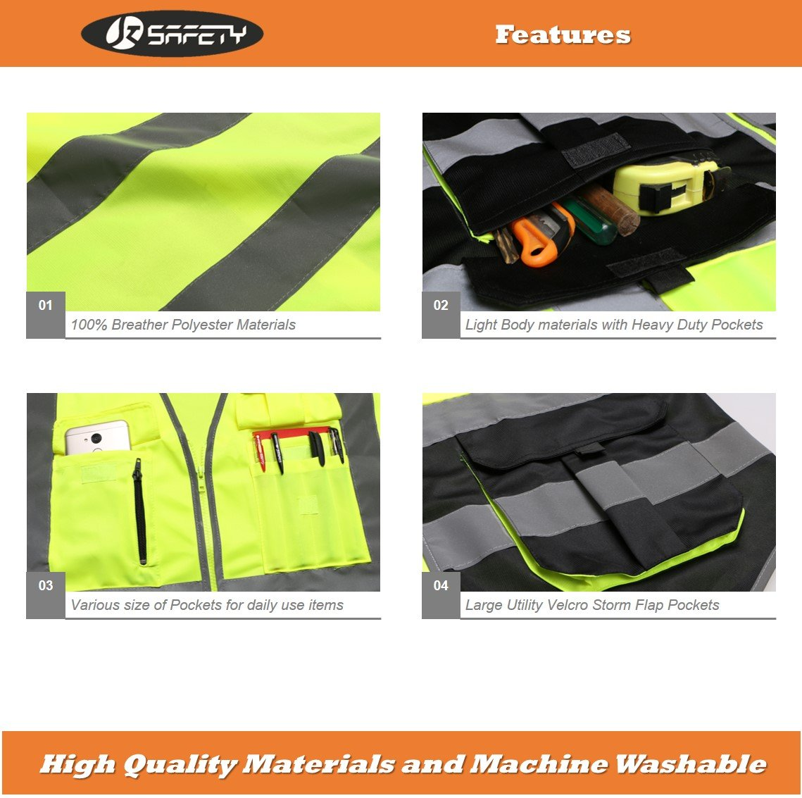 JKSafety Multi Pockets Class 2 High Visibility Zipper Front Safety Vest With Reflective Strips.Meets ANSI/ISEA Standards (Yellow-Black L) by JKSafety (Image #4)