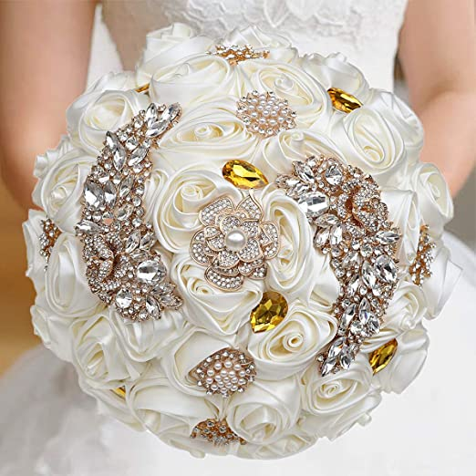Brooch bouquet keepsake satin flowers fabric bouquet bridal flowers handmade alternative bouquet wedding flowers bridal accessorie