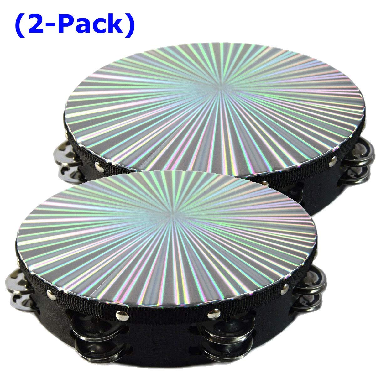 Two 10'' Tambourines Reflective Laser Patern Double Row Jingle