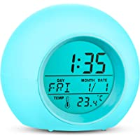 Kids Alarm Clock Wake Up Easy Setting Digital Clock for Boys Girls, 7 Colors Changing LED Light Large Display Time/Date…