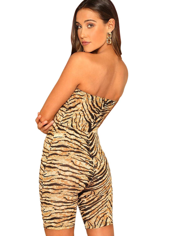 166efaa31214 Amazon.com  SweatyRocks Women s Animal Print Strapless Tube Bodycon Romper  Shorts One Piece Jumpsuit  Clothing