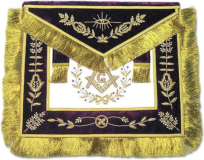 Masonic Grand Lodge Master Mason Apron Gold Embroidery Purple