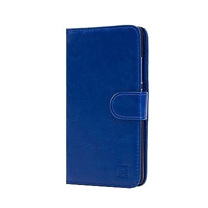 32nd® Funda Flip Carcasa de Piel Tipo Billetera para Xiaomi Redmi Note 2 con Tapa y Cierre Magnético y Tarjetero - Azul