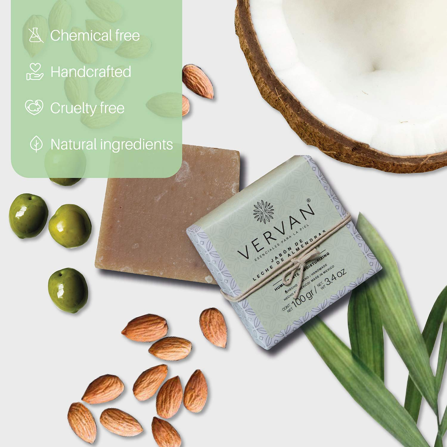 Vervan Almond Milk Anti-Dry Skin Natural Handmade Bar Soap, Cold Process Soap, Scented Soap Bar, Prevents Dehydration, 41% Olive Oil, 3.4 Oz