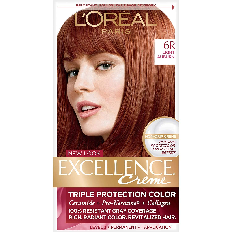 L'Oreal Paris Excellence Creme Permanent Hair Color, 155R Light Auburn, 155  percent Gray Coverage Hair Dye, Pack of 15
