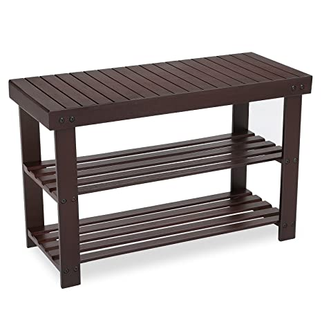 e3a858322868 SONGMICS 3-Tier Bamboo Shoe Rack Bench, Shoe Organizer, Storage Shelf,  Holds Up to 264 Lb, Ideal for Entryway Hallway Bathroom Living Room and ...