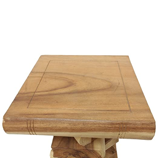 Bcherhocker Nachttisch Beistelltisch Hocker Podest Deko Buch Stapel 50 Cm Holz Akazie Natur Amazonde Kche Haushalt