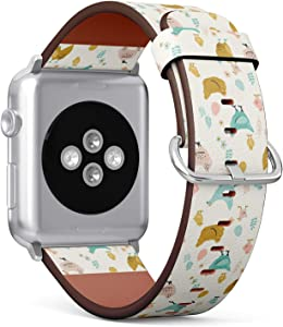 Compatible with Apple Watch Series 6/5/4/3/2/1 (Big Version 42/44 mm) Leather Wristband Bracelet Replacement Accessory Band + Adapters - Chicken Easter